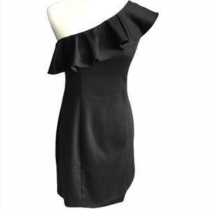 H&M Black Classy One-Shoulder Ruffle Dress NEW 2